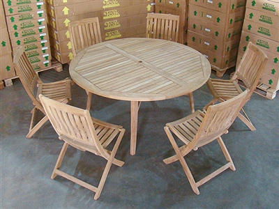 Padang Teak Round Table W 6 Boma Folding Chairs